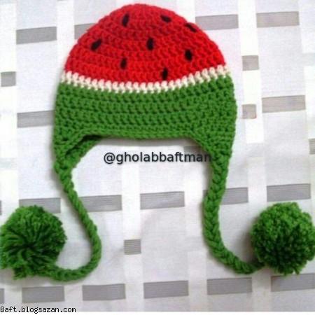 بافت کلاه فانتزی هندوانه,قلاب بافی,بافت کلاه با قلاب