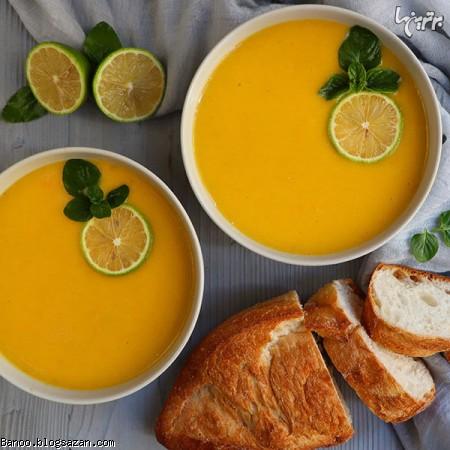 سوپ کدو حلوایی و برنج