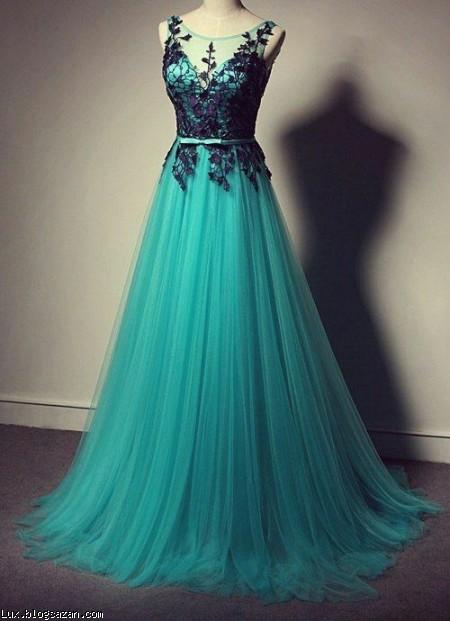 مدل لباس شب,مدل لباس شب سبز رنگ