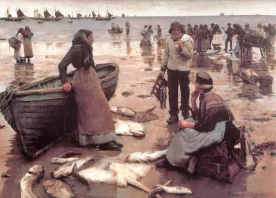 ماهی گیران مشغول کارند
