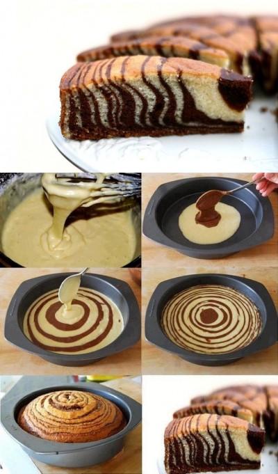 آموزش پخت کیک زبرا دورنگ کاکائویی و وانیلی