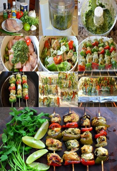 آموزش مرغ و سبزیجات کبابی با سس گشنیز